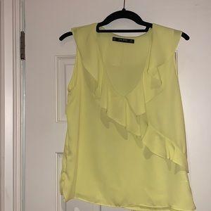 Zara yellow ruffle top